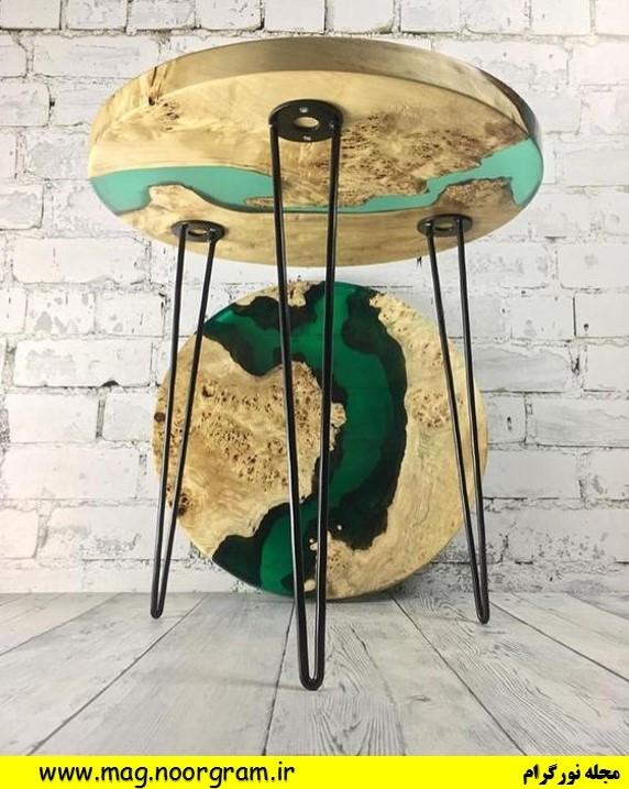 میز رزین و چوب
