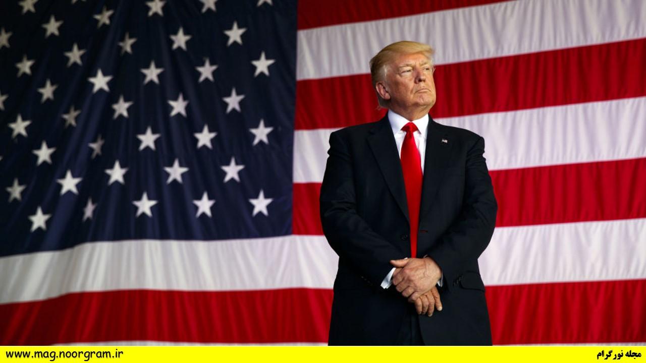 پرچم امریکا و ترامپ