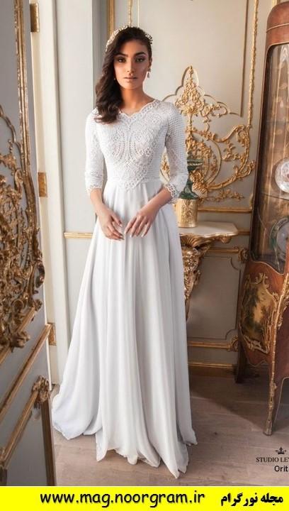 لباس عروس با یقه پوشیده