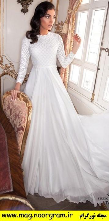 لباس عروس یقه بسته