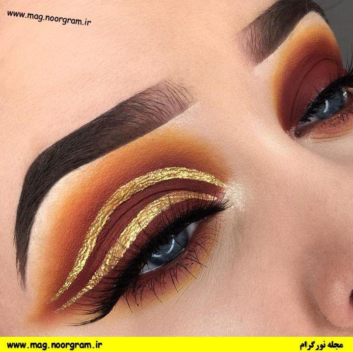 آرایش چشم قهوه ای طلایی