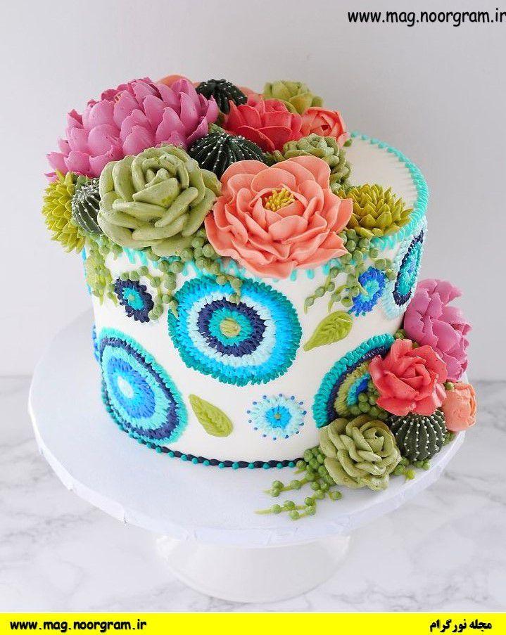 تزئین کیک با طرح گلدوزی