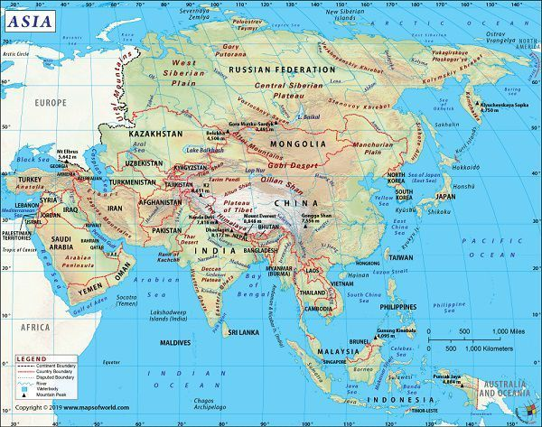 نقشه آسیا