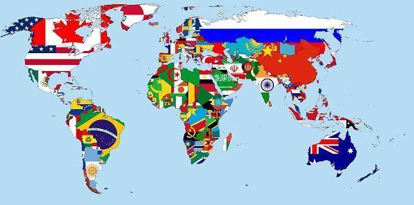 نقشه جهان پرچم کشور ها