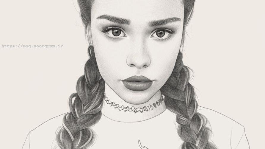 نقاشی سیاه قلم دختر