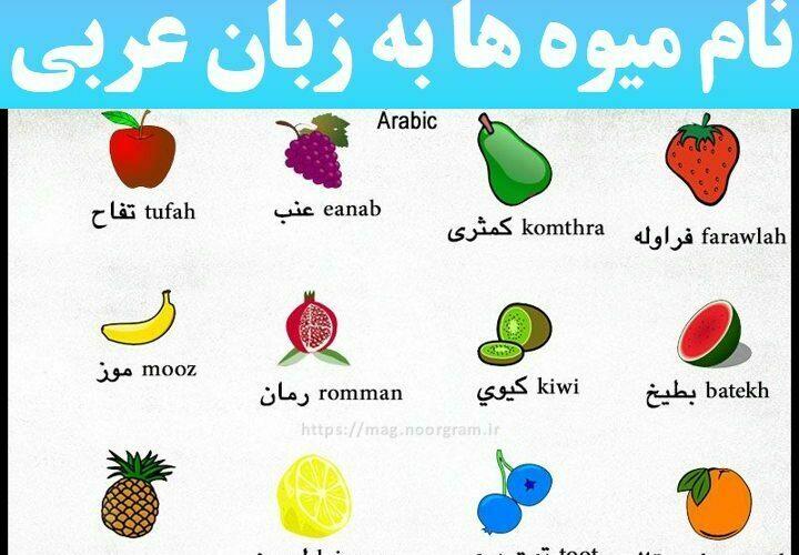 نام میوه ها به زبان عربی